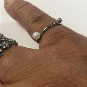 .925 Sterling Silver Double Bead Dainty Ring